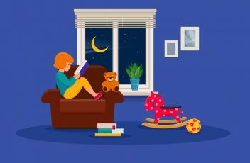 Little girl is reading a book in a children s room. Vector illustration on blue background.