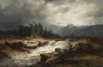 Alexandre Calame Mountain Torrent Before a Storm (The Aare River, Haslital), 1850 Oil on canvas, 38 5/8 x 54 1/4 in. (98.1 x 137.8  cm) Collection of Asbjorn R. Lunde